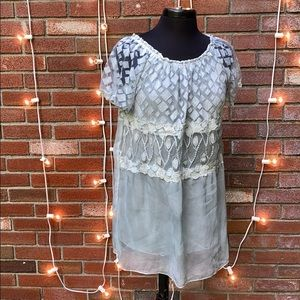 Simply Couture Short Sleeved Lacy Blouse Floral